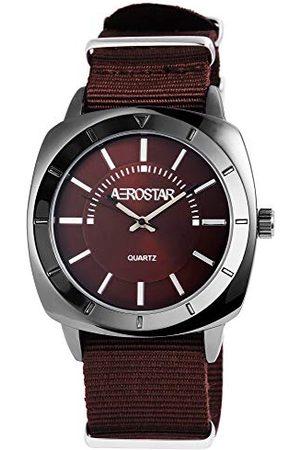 Aerostar Męski analogowy zegarek kwarcowy z bransoletką z materiału 21107150005