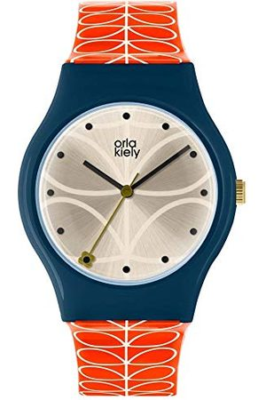 Orla Kiely Unisex dorosły analogowy klasyczny zegarek kwarcowy ze skórzanym paskiem OK2228, szampan