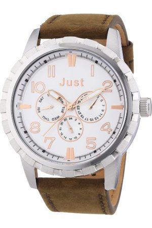 Just Watches Męski zegarek na rękę XL analogowy kwarcowy skóra 48-S4997-SL