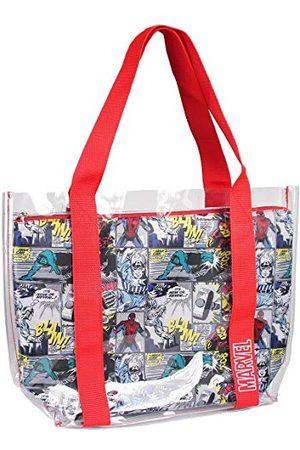 Cerdá Unisex 2100002897 przezroczysta torba plażowa dla dzieci, z wewnętrzną kieszenią Marvel-Comic, Rojo, Grande
