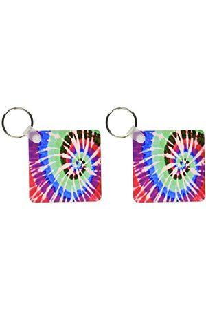 3dRose Tie Dye Art 5 - breloczki do kluczy, 5,25 cala, zestaw 2 breloków do kluczy, 6 cm, różne