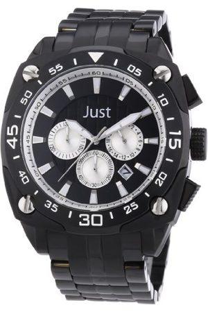 Just Watches Męski zegarek na rękę XL analogowy kwarcowy stal szlachetna 48-STG2373BK-SL
