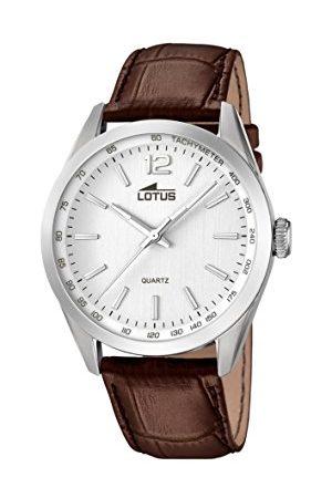 Lotus Męski zegarek kwarcowy ze srebrnym wyświetlaczem analogowym i brązowym skórzanym paskiem 18149/1
