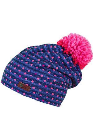 Sterntaler Dziewczęca czapka Slouch-Beanie z pomponem, naszywką i wzorem w paski z kropkami
