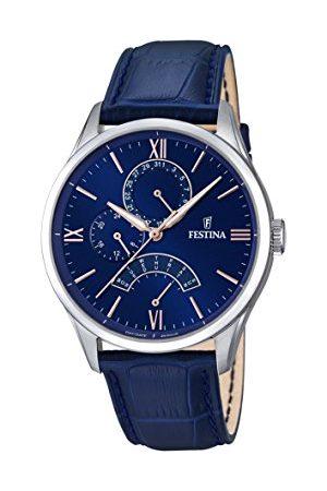 Festina Męski zegarek kwarcowy z niebieskim wyświetlaczem analogowym i niebieskim skórzanym paskiem F16823/3