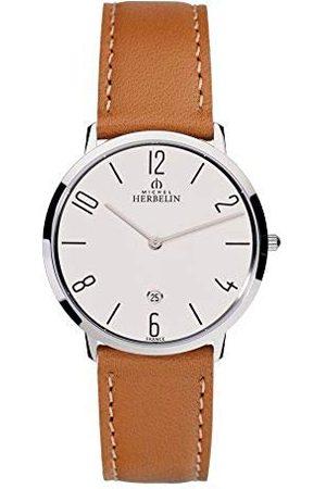 Michel Herbelin Mężczyzna Zegarki - Męski analogowy zegarek kwarcowy ze skórzaną bransoletką 19515/21GO