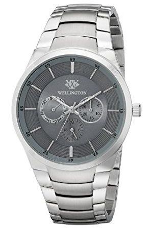 Daniel Wellington Męski zegarek kwarcowy z szarym wyświetlaczem analogowym i srebrną bransoletą ze stali nierdzewnej WN601-191