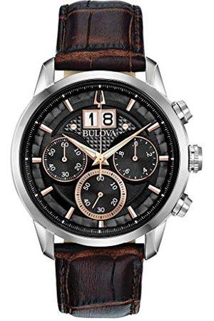 BULOVA Męski analogowy zegarek kwarcowy ze skórzanym paskiem 96B311