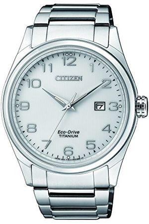 Citizen Męski datownik klasyczny zegarek solarny z tytanową bransoletką BM7360-82A