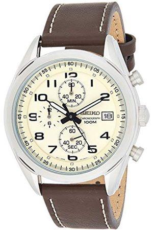Seiko Męski zegarek kwarcowy chronograf ze skórzanym paskiem SSB273P1