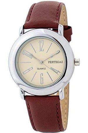Pertegaz Zegarek kwarcowy ze skórzanym paskiem P33006-R