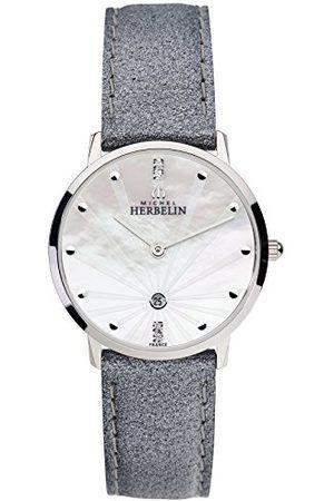 Michel Herbelin 16915/59GR zegarek analogowy dla dorosłych ze skórzanym paskiem unisex