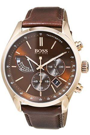 HUGO BOSS Męski zegarek kwarcowy chronograf ze skórzanym paskiem 1513605
