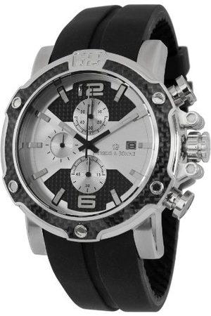 Herzog & Shne Herzog & Söhne męski zegarek kwarcowy ze srebrną tarczą chronografem i czarnym silikonowym paskiem HS201-112