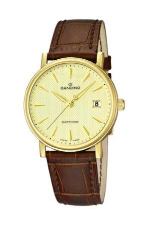 Candino Męski zegarek kwarcowy ze złotym wyświetlaczem analogowym i brązowym skórzanym paskiem C4489/3