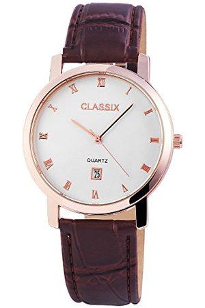CLASSIX Męski analogowy zegarek kwarcowy ze skórzanym paskiem RP310320001