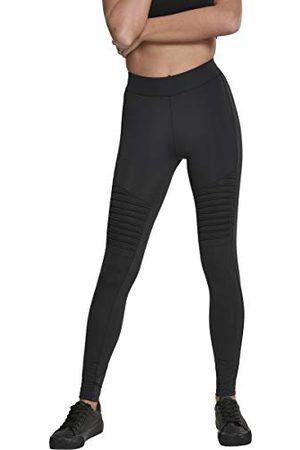 Urban classics Damskie legginsy z elementami motocyklowymi, stebnowane spodnie Streetwear i sportowe