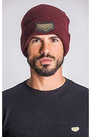 Gianni Kavanagh Męska czapka burgundy Beanie ze złotym GK Plaque czapka zimowa, burgundowa, jeden rozmiar