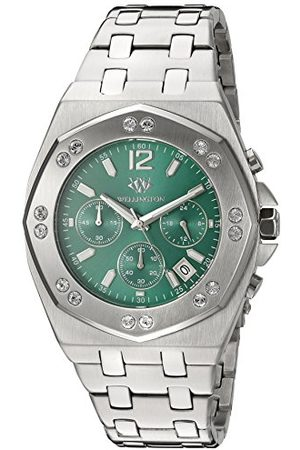 Daniel Wellington Darfield męski zegarek kwarcowy z zielonym wyświetlaczem chronografu i srebrną bransoletką ze stali nierdzewnej WN511-191