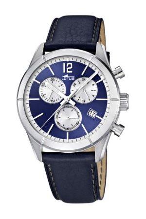 Lotus Męski zegarek kwarcowy z niebieskim wyświetlaczem chronografem i niebieskim skórzanym paskiem 15850/7