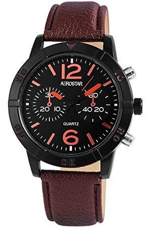 Aerostar Męski analogowy zegarek kwarcowy z imitacji skóry 21107120002