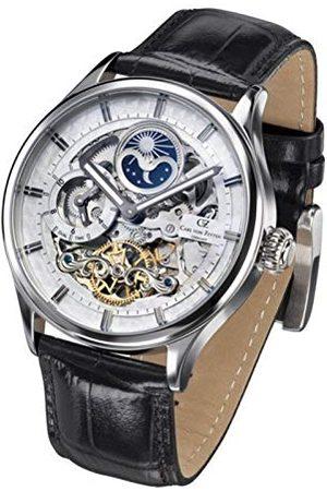 CARL VON ZEYTEN Męski Skeleton automatyczny zegarek ze skórzanym paskiem CVZ0008WH