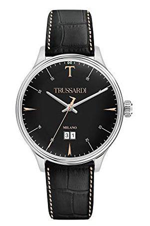 Trussardi Męski analogowy zegarek kwarcowy ze skórzanym paskiem R2451130002
