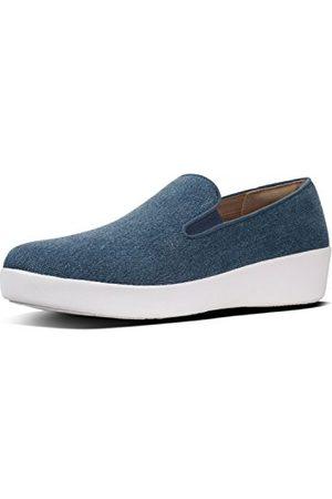 FitFlop Damskie sandały Superskate Tm Loafers Shimmer Denim Peeptoe, niebieskie (Blue 533), 37 EU