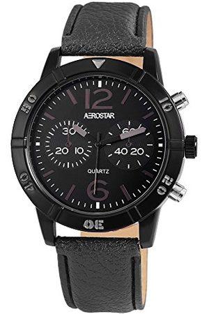 Aerostar Męski analogowy zegarek kwarcowy z imitacją skóry pasek 21107160002