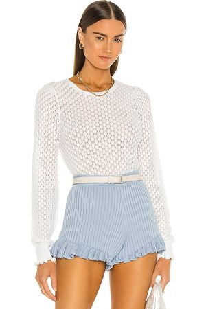 AUTUMN CASHMERE Leaf Pointelle Bishop Sleeve Crew Top in - White. Size S (also in XS).