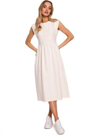 Moe Kobieta Sukienki midi - Bawełniana midi sukienka z podwyższonym stanem - śmietankowa