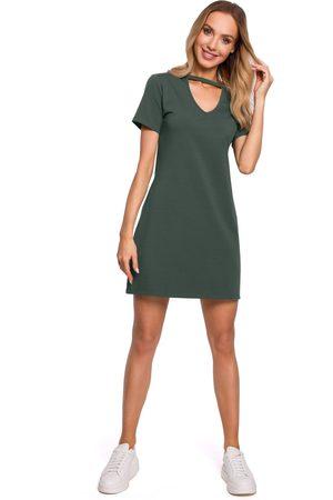 Moe Kobieta Sukienki koktajlowe i wieczorowe - Wygodna sukienka w kształcie litery a - zielona