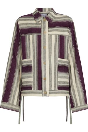 Loewe Kobieta Kurtki - Paula's Ibiza striped linen and cotton jacket
