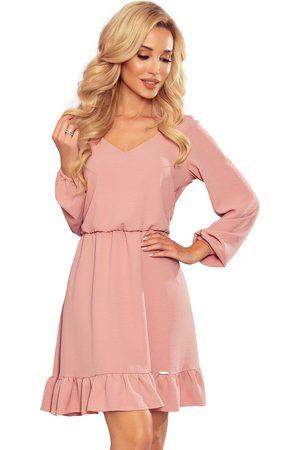 Numoco Kobieta Sukienki koktajlowe i wieczorowe - Zwiewna sukienka w serek - różowa