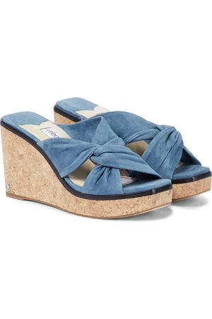 Jimmy Choo Narisa 90 suede wedge sandals