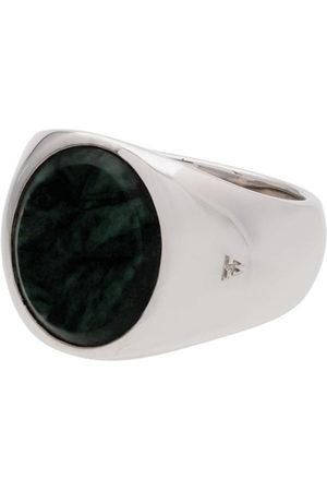 TOM WOOD Mężczyzna Pierścionki - Metallic oval green marble sterling ring