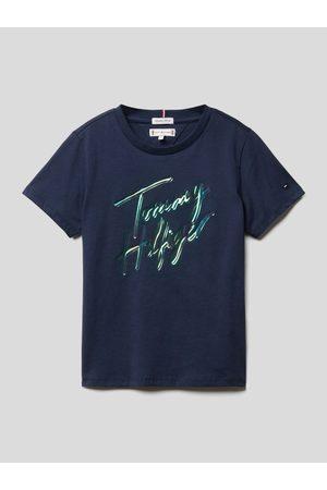 T. Hilfiger Kids T-shirt z błyszczącym napisem
