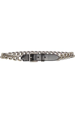 Alexander McQueen Kobieta Paski - Chain-trimmed leather belt