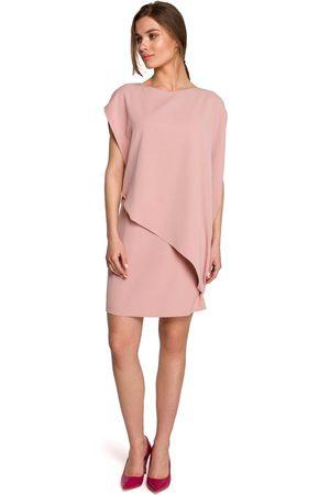 MOE Kobieta Sukienki koktajlowe i wieczorowe - Krótka dwuwarstwowa sukienka - różowa