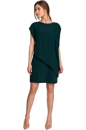 MOE Kobieta Sukienki koktajlowe i wieczorowe - Krótka dwuwarstwowa sukienka - zielona