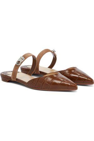 Christian Louboutin Choc Lock croc-effect leather slippers