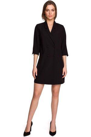 MOE Kobieta Sukienki koktajlowe i wieczorowe - Dwurzędowa żakietowa sukienka z paskiem - czarna