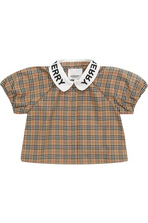 Burberry Bluzki - Baby checked stretch-cotton blouse