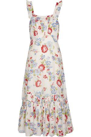 LOVESHACKFANCY Weslan floral cotton and silk midi dress