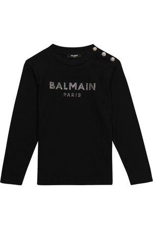 Balmain Embellished logo cotton top