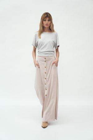 Nife Długa trapezowa spódnica na guziki - beżowa
