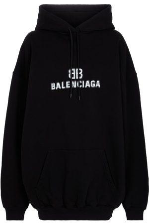 Balenciaga Kobieta Bluzy z kapturem - Logo cotton hoodie