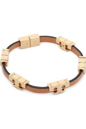 Tory Burch Bransoletki - Bransoletka - Serif-T Stackable Bracelet 80706 Tory Gold/Coconut/Vachetta
