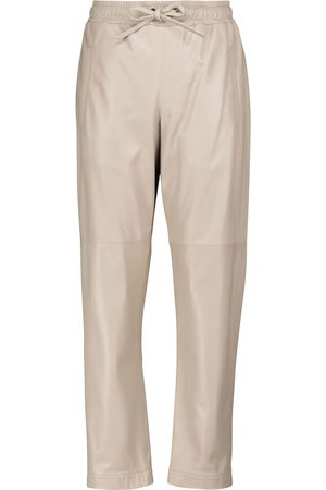 Brunello Cucinelli Drawstring leather tapered pants