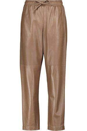 Brunello Cucinelli Drawstring leather straight pants